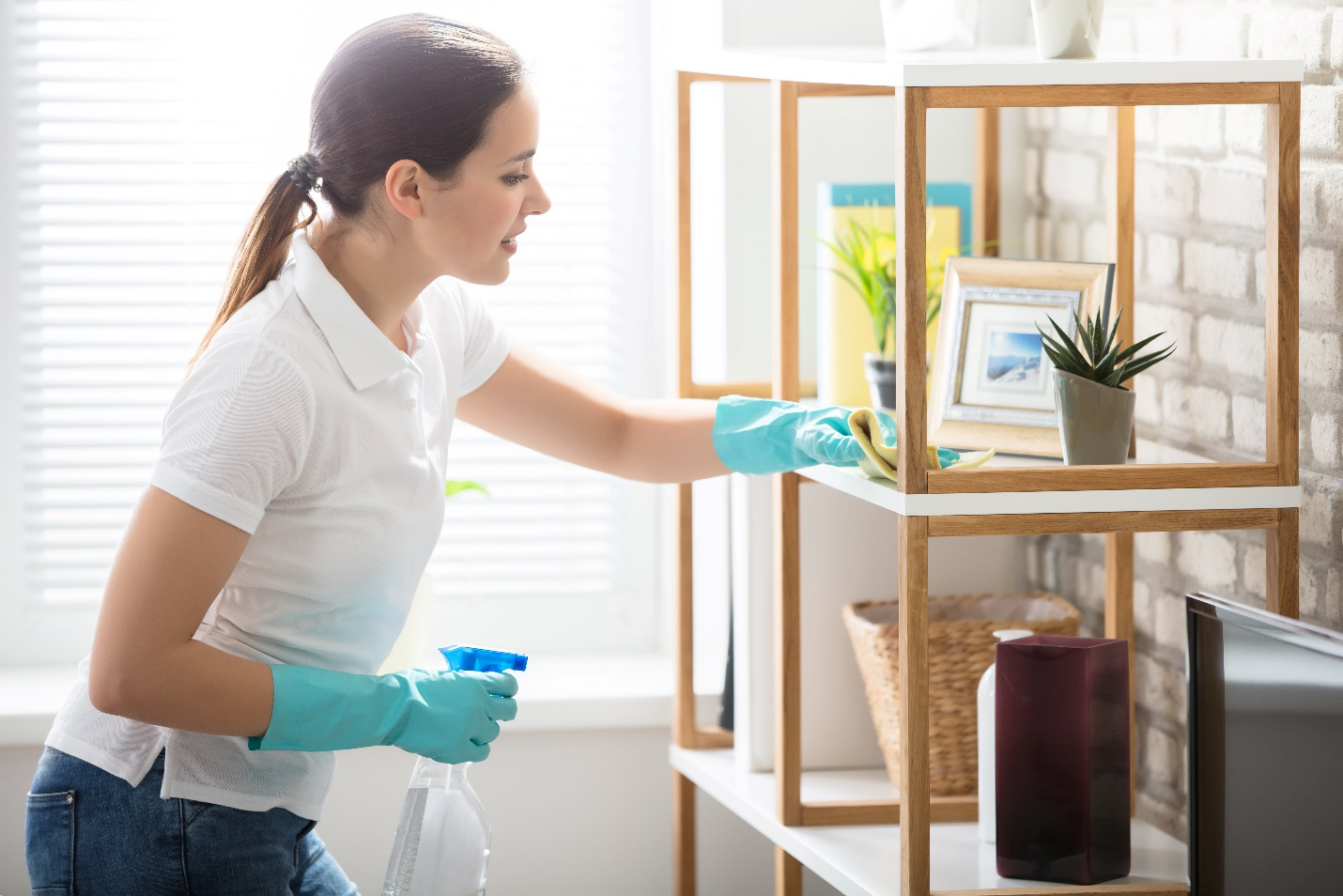woman cleaning the wooden shelf in living room