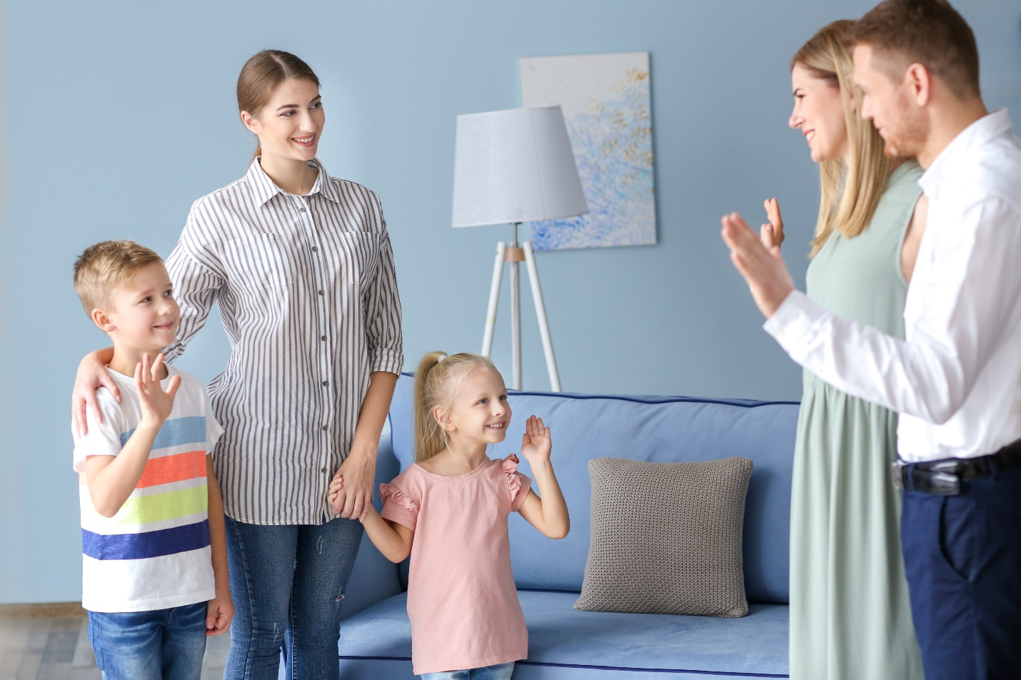 Parents leaving their children with nanny at home